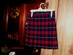 Girls Plaid Uniform Skirts 6X French Toast Red/Navy Cotton B