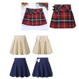 Girls School Uniform Box Pleated Bowknot Scooter Skirt Schoo