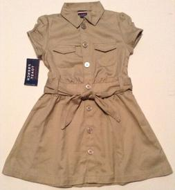 French Toast Girls School Uniform Safari Dress Button Up Fro