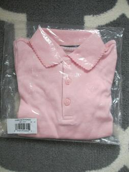 French Toast girls shirt-pink, xs , long sleeve polo, flower