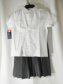 Girls French Toast Uniform Button Shirt + Skirt Size 12, BRA