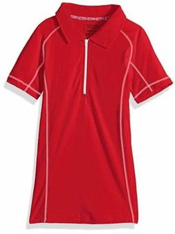 Cherokee Girls' Uniform-Jersey Polo Zip Plaquet, Small 7-8