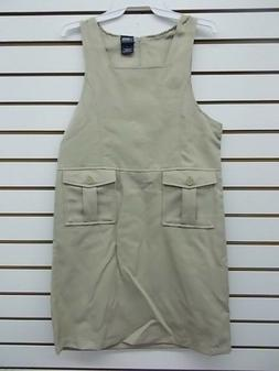 Girls French Toast Uniform Khaki Jumper Dress w/ 2 Pockets S
