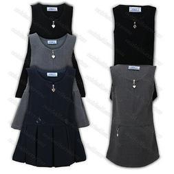 Girls Uniform Kids Pinafore School Wear Dress Sleeveless Zip