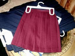 Girls Uniform Skirt Burgundy Cotton Blend Pleated School Uni