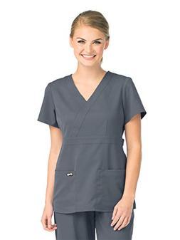 Grey's Anatomy 4153 Women's Mock Wrap Top Granite 4XL