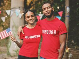 grubhub delivery red t shirt uniform print