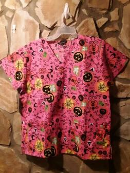 Halloween Medical Scrub Just Love Women's Pink Top Smock Siz