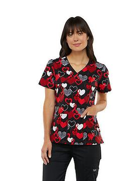 Cherokee Heart Smart Mock Wrap Top Print Scrubs