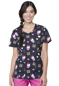 Hello Kitty Cherokee Scrubs Tooniforms Disney V Neck Top TF6