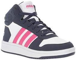 adidas Kids' Hoops Mid 2.0 Basketball Shoe, White/Real Magen