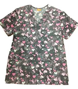 ICU by Barco Uniforms Missy 4 Pocket Detailed V-Neck Print S