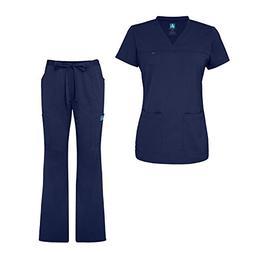 Adar Indulgence Jr. Fit Womens Scrub Set Curved V-Neck Medic