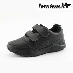 Kids Black/White School Uniform Sneaker Hook and Loop Boys G