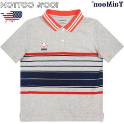 Kids Boys T-shirt Short Sleeve Polo Tee Tops Casual Cotton S