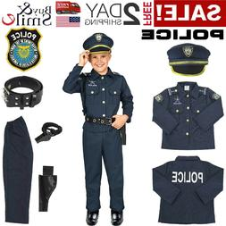Kids Police Officer Costume Halloween Cosplay Boys Outfit Re