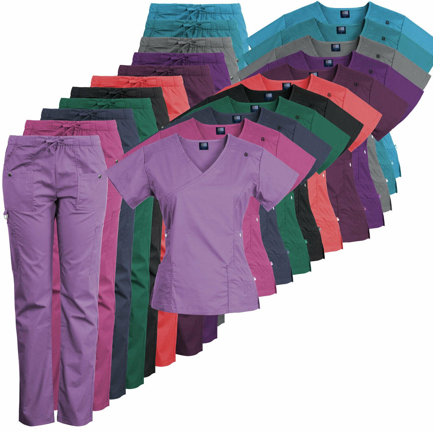 14 pocket womens stretch medical scrubs set