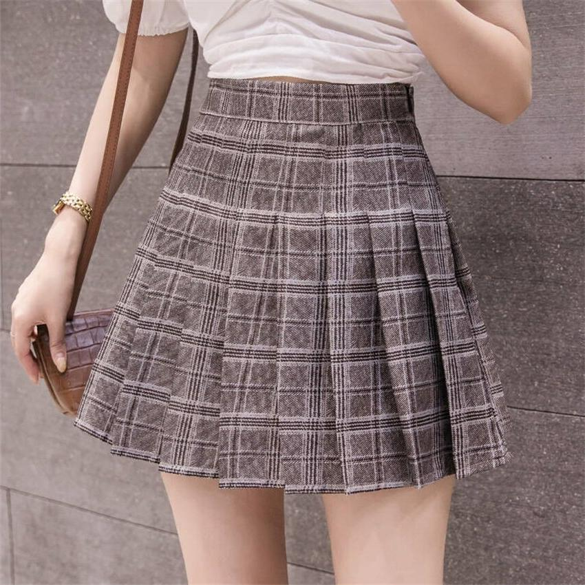 6Colors Japanese Pleated <font><b>Skirts</b></font> <font><b>Uniform</b></font> Plaid <font><b>Uniforms</b></font> Woman