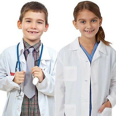 Kids Medical Doctor Lab Coats Long White Jacket for Children