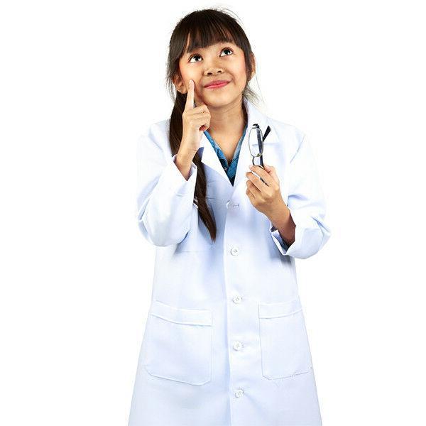 Unisex Kids Children Super Soft White Lab Coat Costume Scien