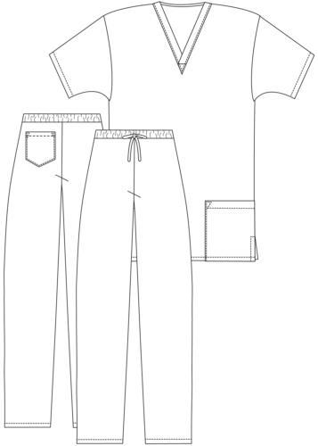 Adar Doctor Uniform V-neck Shirt Pants