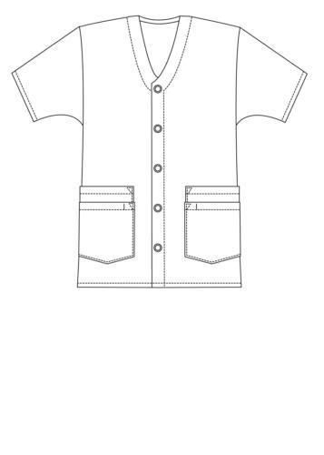 Adar Doctor Short Sleeve Snap V Double Pocket