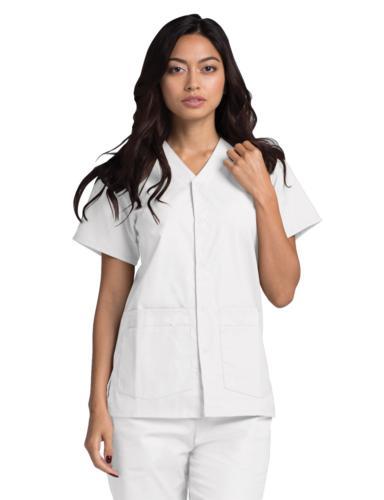 Adar Nurse Short Snap V Neck Pocket Scrub