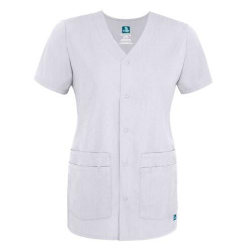 Adar Women Short Sleeve Front V Neck Scrub