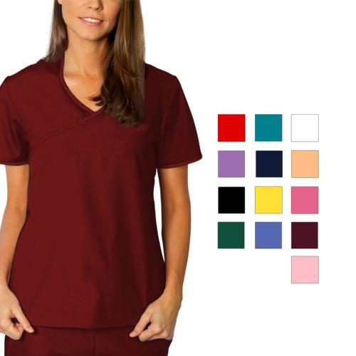 Adar Women Medical Nurse Uniform Asian Style Mock Wrap Cross