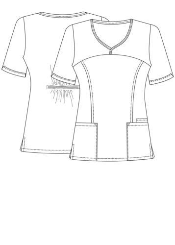 Adar Uniform Sweetheart Pockets Top