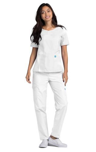 Adar Nurse Uniform Sweetheart V-Neck Multiple Pockets