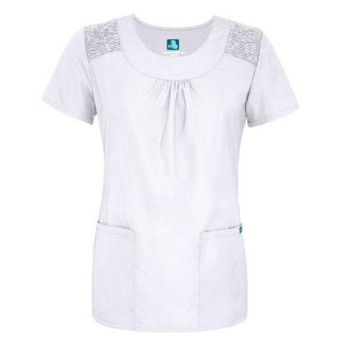 Adar Uniform Neck Pocket Solid Smocked Scrub Top
