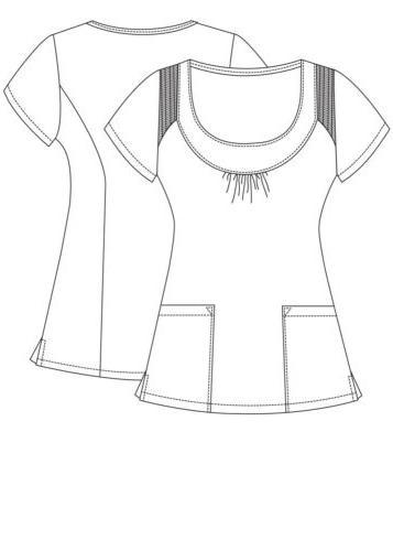 Adar Women's Uniform Pocket Solid Smocked Top