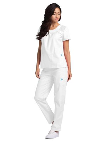 Adar Uniform Pocket Solid Smocked Top