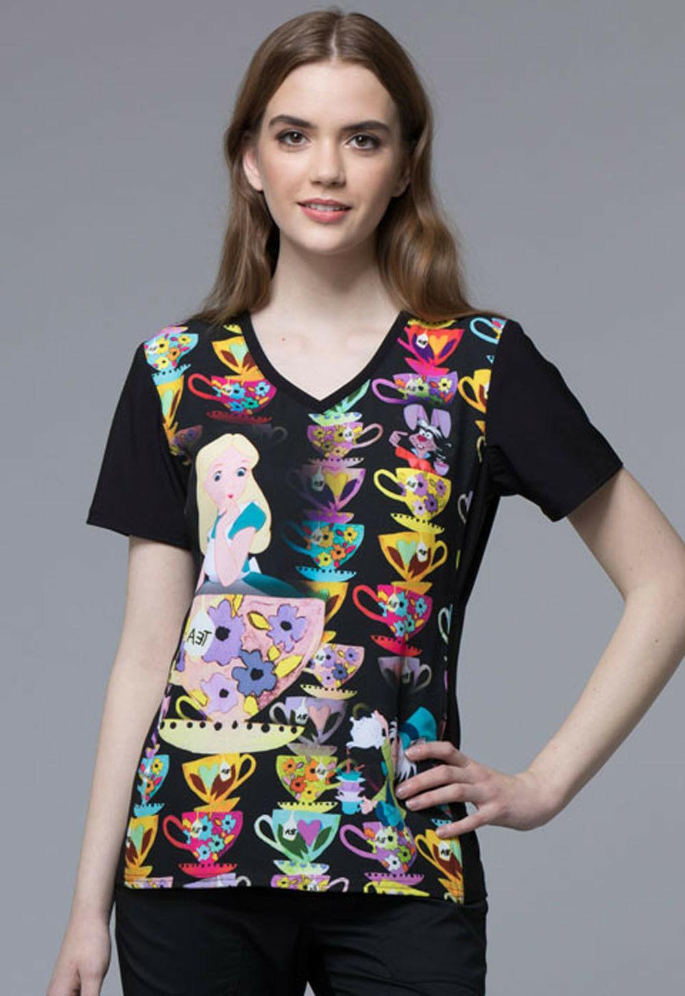 Alice in Wonderland Cherokee Scrubs Tooniforms Disney V Neck