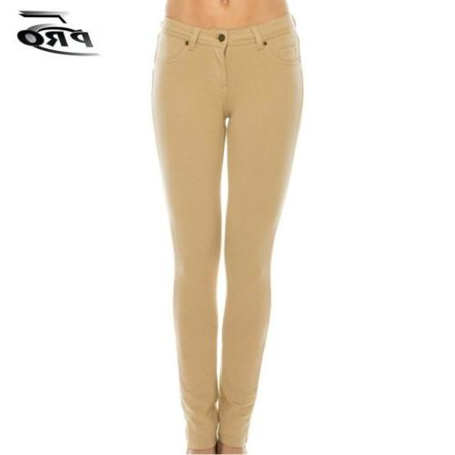 Pro 5 Apparel Girls Skinny Stretched Terry Pants Khaki Schoo