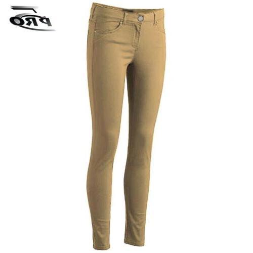 Pro 5 Apparel Stretched Girls Skinny Pants Khaki School Unif