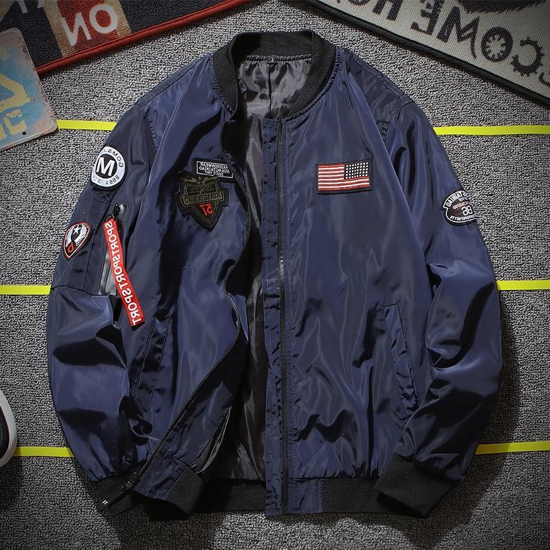 Army <font><b>Men</b></font> Fashion Embroidery Designer Pilot Zipper <font><b>Men's</b></font>