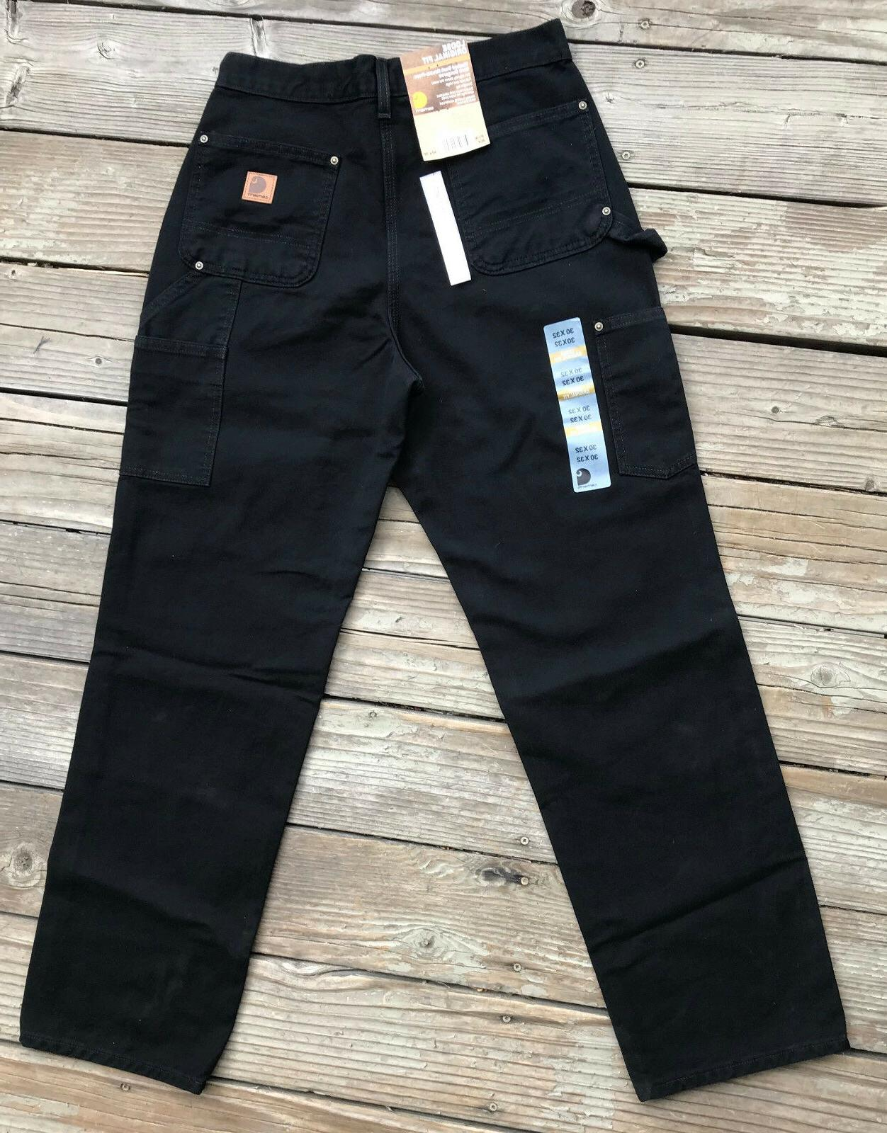 Carhartt B136 BLACK- Double Front Washed Duck Loose-Original
