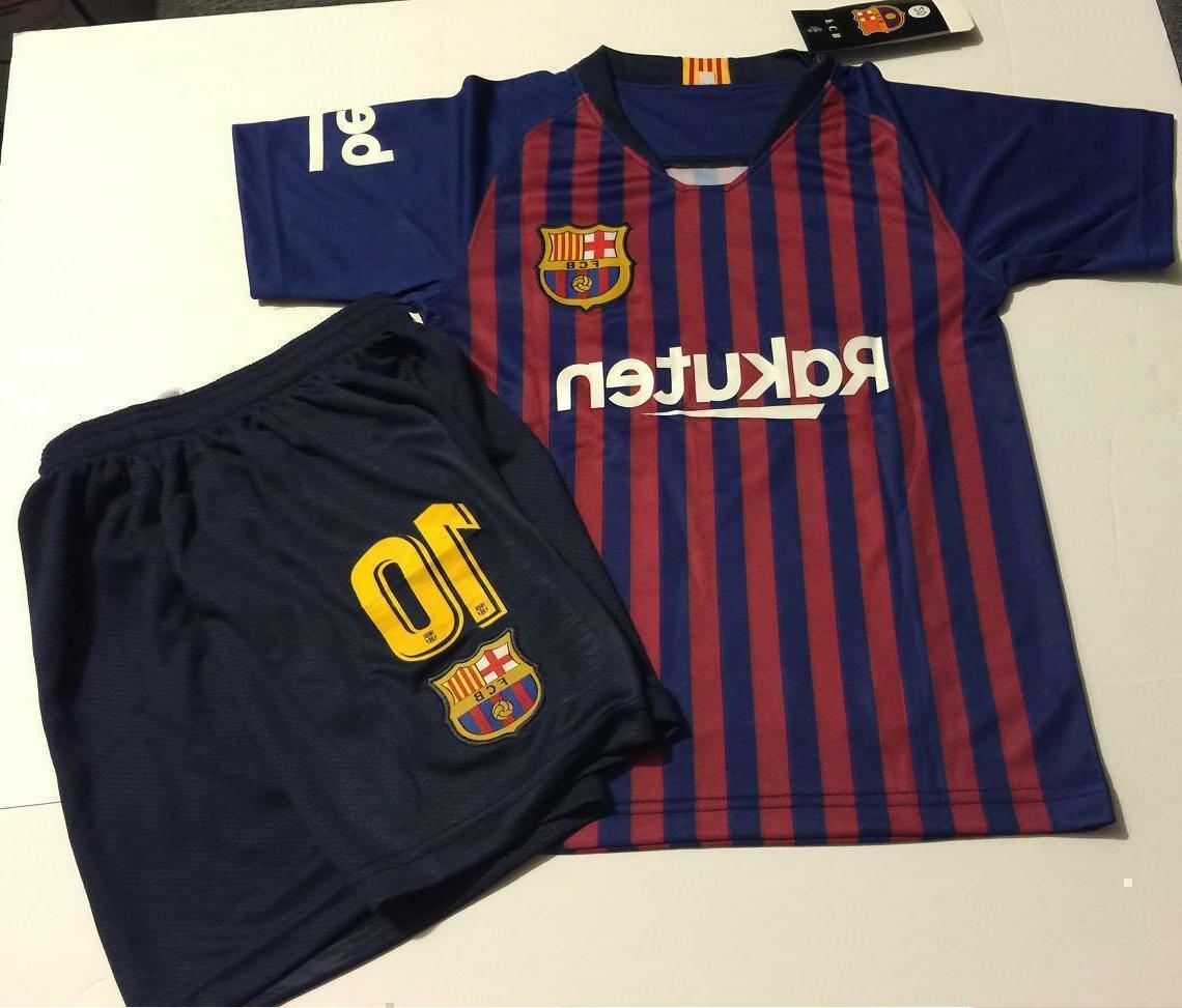 Barcelona 2019 Home Messi Kids Set Soccer Jersey Kit Boys Un
