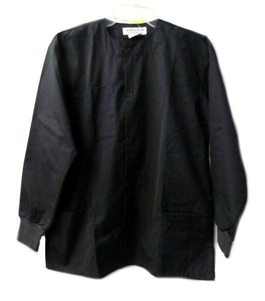 Natural Uniforms Black Warm Up Jacket Solid Top Round Neck S