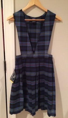 French Toast Blue Red Plaid V Neck Pleated Jumper For Girls