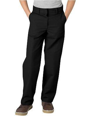 Dickies Boys Black Pants Flat Front Classic Fit School Unifo