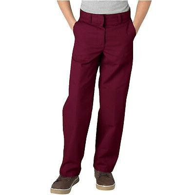 Dickies Boys Burgundy Pants Flat Front Classic Fit School Un