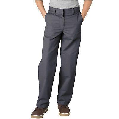 Dickies Boys Charcoal Pants Flat Front Classic Fit School Un
