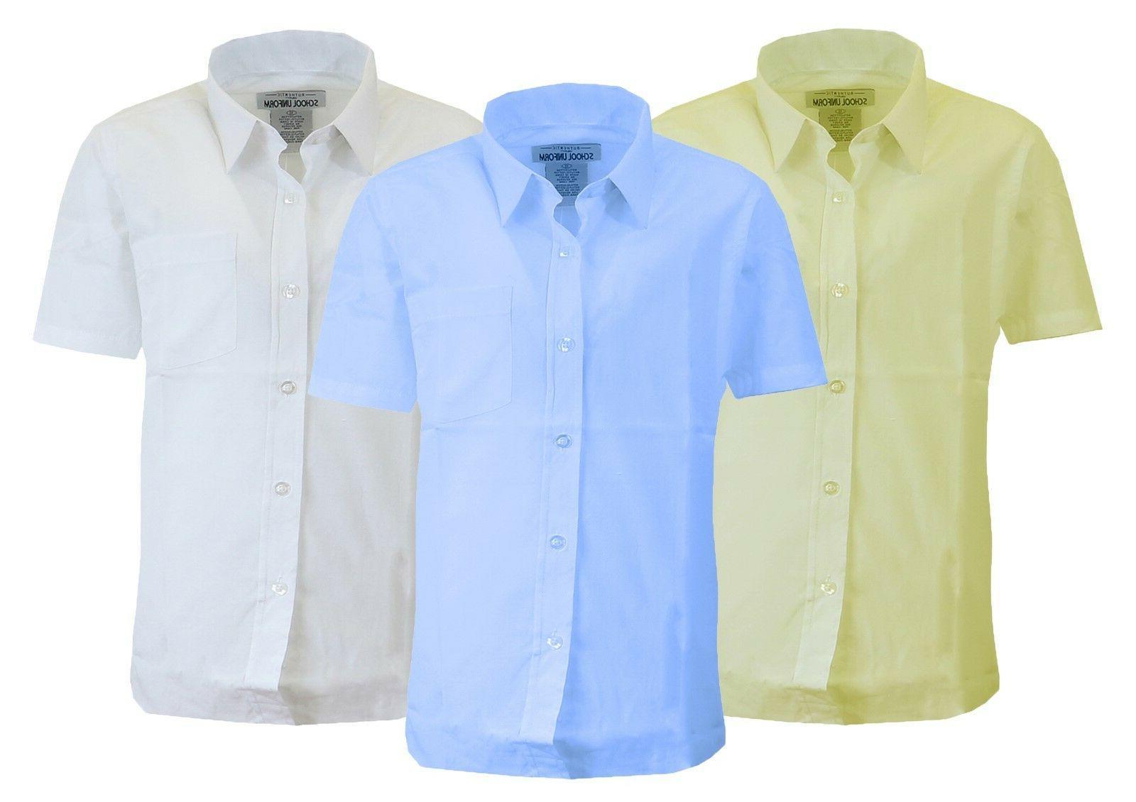 Boys Short Sleeve Dress Shirts Uniform School Casual Classic