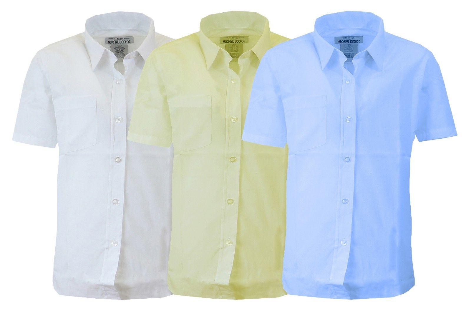 Boys Short Sleeve Uniform Shirts Casual School Button Colors