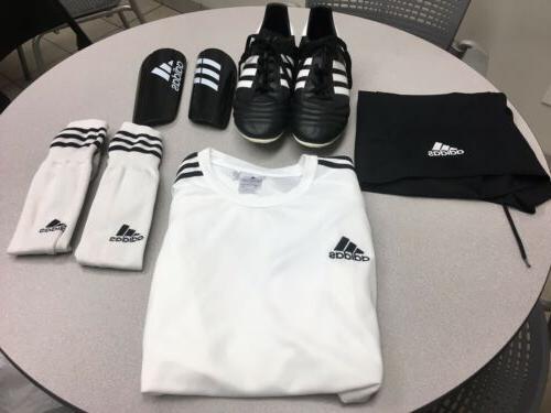 complete soccer uniform jersey shorts shin guards