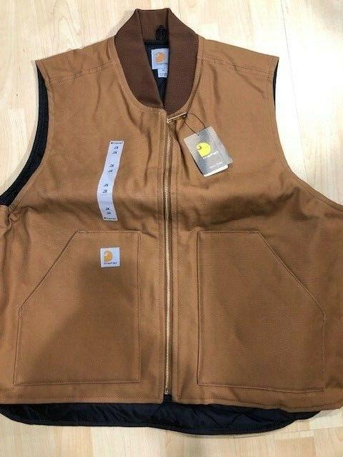 Carhartt Duck Vest Canvas Brown size XL BRAND NEW quilted li