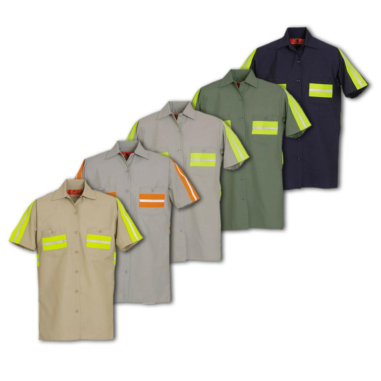 enhanced visibility work shirts reflective short sleeve